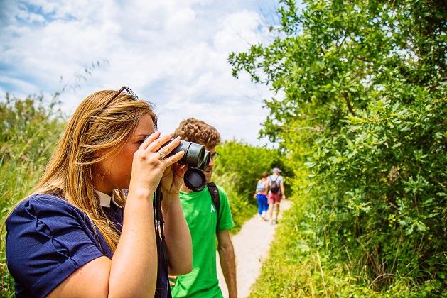 Observation d'oiseaux avec un guide naturaliste dans la réserve naturelle nationale des Prés Salés d'Arès-Lège Cap Ferret.