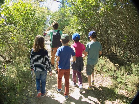 Groupe d'enfants en visite avec Alexandre sur les Prés Salés à Arès.