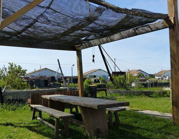 Terrasse d'une cabane ostréicole sur le port d'Arès